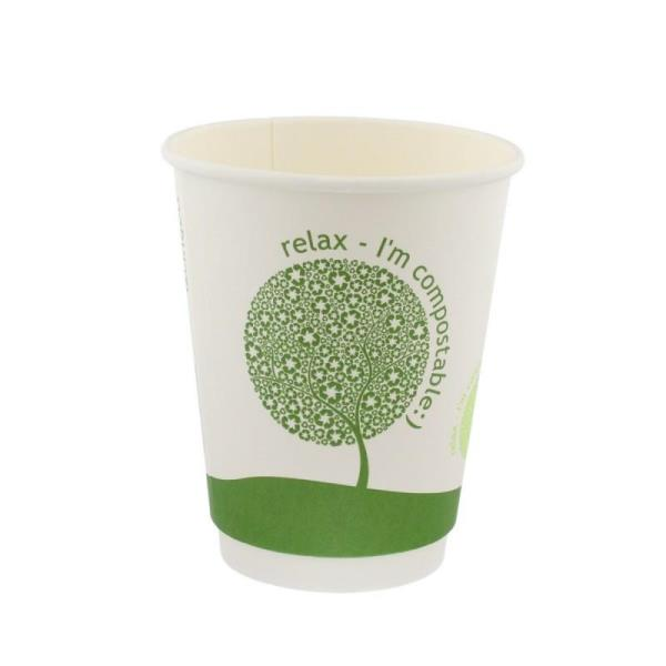 VASOS COMPOSTABLE - LIBRE DE PLASTICO - 180ML - 1000UDS
